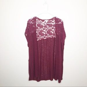 Charming Charlie Maroon Lace Cocoon Cardigan